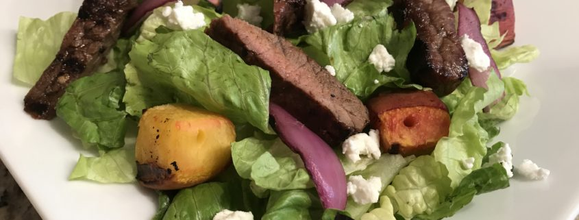 Maple Balsamic Steak and Peach Salad